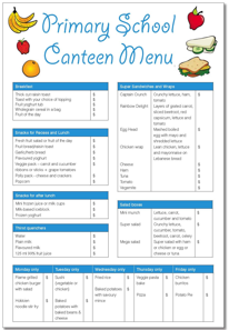 Primary School Sample Menu