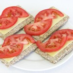 Cheese & tomato on crackers